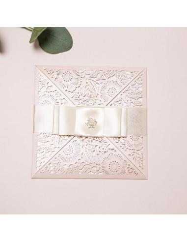 Faire-part Mariage dentelle papier -...