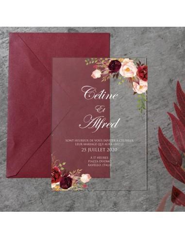 Faire-Part Mariage Acrylique Fleuri -...
